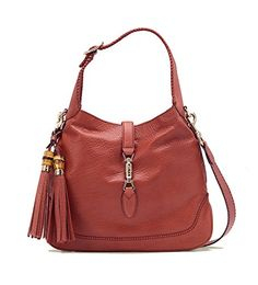 7fd3b703afc7 Gucci Pink Coral New Jackie Leather Shoulder Bag With Bamboo Tassel Large