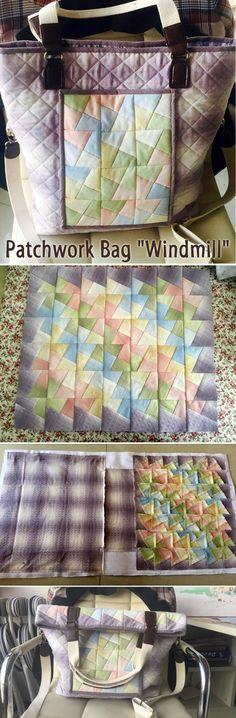 "Patchwork Bag ""Windmill"" DIY step-by-step tutorial. http://www.handmadiya.com/2015/08/patchwork-bag-windmill.html"