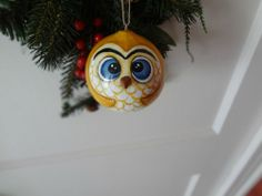 New Hand Painted Gourd Owl Christmas Ornament