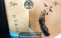 name tattoo cover up, name tattoo cover up idea, name cover up tattoo design, name tattoo cover up with feather tattoo design check in before and after image of cover up tattoo Done by -Deepak Karla 8800637272 AT- Permanent tattoo art, Gurgaon Delhi/NCR http://www.permanenttattooart.com/ https://www.facebook.com/PermanentTattooArt tattoo in Gurgaon (Haryana)