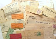 Vintage paper ephemera pack: 20 pieces of US ephemera. Craft pack for scrapbooks, collage, journaling, altered art. Tickets, envelopes.