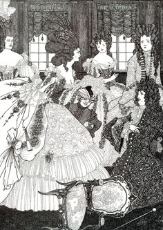 The Battle of the Beaux and the Belles: Aubrey Beardsley. Date: 1896 Style: Art Nouveau genre painting Technique: indian ink