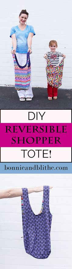 Make a quick and easy reversible tote in a couple hours! This simple sewing tutorial includes a free pattern in 2 different sizes - one for adults and one for kids! Perfect as a reusable shopping bag, library book back, pool tote or just about anything else!