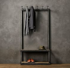 Coat Rack Bench, 3 Foot - eclectic - hall trees - by Restoration Hardware Vintage Industrial Decor, Industrial Style, Industrial Pipe, Coat Rack Bench, Coat Racks, Hall Tree Bench, Hall Trees, Entry Bench, Bench Mudroom