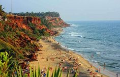 Varkala is a scenic beach resort located in Kerala, India. Get details on tourism and travel in Varkala under this tourist guide. Amazing India, Exotic Beaches, Kerala India, Tourist Places, Beaches In The World, Holiday Destinations, Cool Places To Visit, West Coast, Tourism