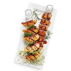 Southern Living Quick-Fix Suppers: Dinner on a Stick! Grilled scallop, pork and peach, grilled shrimp and smoky grilled-corn grits, grilled chicken-vegetable kabobs