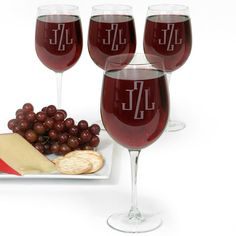 Monogrammed Colossal Wine Glass Set