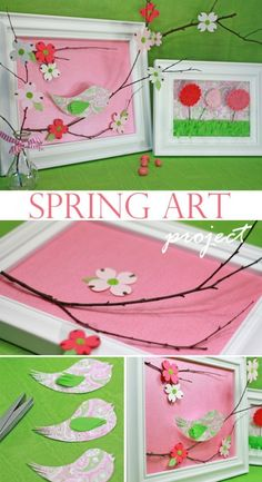 spring wall art..tutorial - We'll make a series of 4 to hang in a vertical row