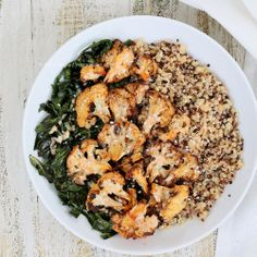 Quinoa Cauliflower Collard Bowl with Almond Butter Sriracha Sauce. Vegan Glutenfree Recipe | Vegan Richa