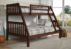 Twin over Full Mission Bunk Bed in Dark Cappuccino with FREE SHIPPING nationwide!  http://www.bunkbedkingdom.com/twin-over-full-mission-bunk-bed-dark-cappuccino/