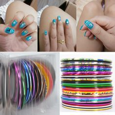 Retail 40 Popular 0.8mm Nail Striping Tape Line For Nails Decorations Diy Nail Art Self-Adhesive Decal Tools [Affiliate]