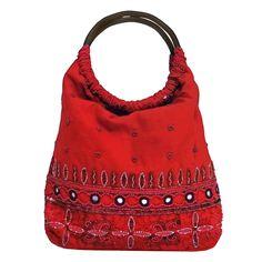 Amazon.com: Handmade Cotton & Beaded Handbag (India) (Black or Red): Clothing: $12.95