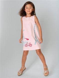 Robe LZC pour Vert Baudet avec une tour Eiffel... Faite pour ma fille !