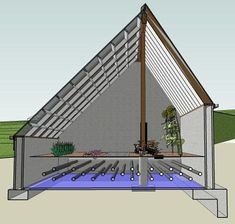 A greenhouse heated only by the hot air it produces - the hot air gets pushed under the soil by a fan so no external heat source is needed.