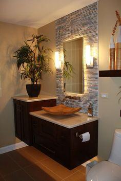Trendy bathroom vanity backsplash back splashes accent walls Bathroom Design Luxury, Modern Bathroom Decor, Modern Bathroom Design, Small Bathroom, Bathroom Lighting, Light Bathroom, Wall Lighting, Bathroom Designs, Vanity Backsplash