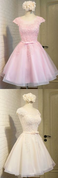 Gorgeous Pink/White Lace Short Tulle Party Dress with Cap Sleeves