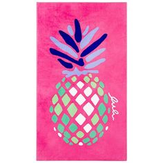 Lulu Dk for Matouk Pineapple Beach Towel ($66) ❤ liked on Polyvore featuring home, bed & bath, bath, beach towels, magenta pink, pink beach towel and matouk