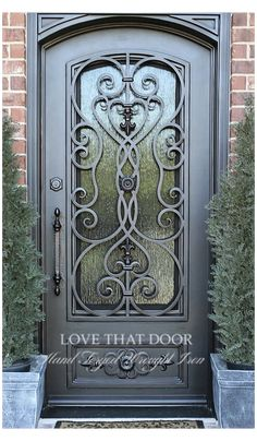 Iron Front Door, Iron Doors, Front Entry, Iron Gates, Exterior Doors, Entry Doors, Wrought Iron Decor, Wrought Iron Designs, Front Door Design