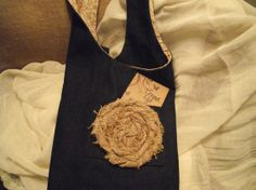 Redesigned demin bag with flowered cotton lining by EulasHeart, $50.00