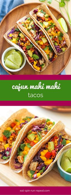 These Cajun Mahi Mahi Tacos are a fiesta in your mouth, perfect for Cinco de Mayo, Taco Tuesday, or any other day for that matter! Healthy Taco Recipes, Easy Fish Recipes, Healthy Tacos, Healthy Summer Recipes, Seafood Recipes, Whole Food Recipes, Easy Meals, Free Recipes, Healthy Food
