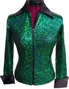 Emerald women's shirt, green hologram, zip rail show jacket, rodeo queen, rhinestone crystals L/XL- READY to SHIP!-- $149