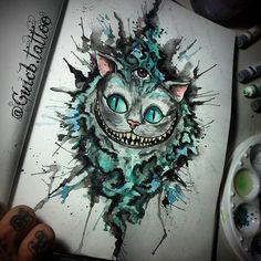 "#mulpix ""Quando eu acordei hoje de manhã, eu sabia quem eu era, mas já mudei muitas vezes desde então..."" Alice #aliceinwonderland #chesirecat #madness #timburton #tattoolife #tattoo2me #equilattera #girltattoo #delicatedtattoo #watercolortattoo #tattoodesign #ink #worldfamousink #artbasemint #artist #inkstinctsubmission #society6 #420 #psychodelic #psychodelictrip #surreal #trippy #lsd #floripa #brazil #artshelp"