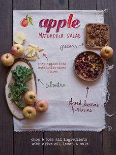 apple matchstick salad with nuts, berries & herbs- easy fall recipe #vegetarian #easyrecipe #vegan