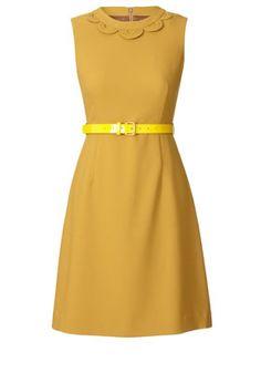 Solid Crepe Blend Sleeveless Dress Mustard