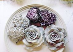 SOAP Glorious Grey Roses with Silver and Black by thecharmingfrog,