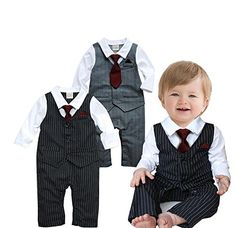 Material: Cotton and Comfortable to Wear Main Color: As pictures show Size: 70 for for for for Baby Boys Season: Spring, Summer, Fall.Best Gift for Baby boys.Party,Wedding Outfit Package x Little Gentleman Baby Boy Rompers Baby Boys, Baby Boy Suit, Baby Tie, Baby Boy Romper, Toddler Boys, Baby Dress, Newborn Boys, Baby Rompers, Baby Boy Fashion