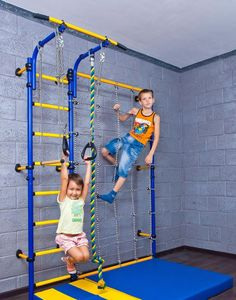 Kids Playground with Climbing Cargo Net / Indoor Wall Gym Training Sport Set with Trapeze Bar Swing, Climber, Climbing Rope, Jump Rope / Suit for Backyard, School and Playroom / Comet Next 3 (White) Indoor Jungle Gym, Indoor Gym, Indoor Outdoor, Indoor Playroom, Playground Set, Kids Indoor Playground, Indoor Climbing, Climbing Wall, Climbing Holds
