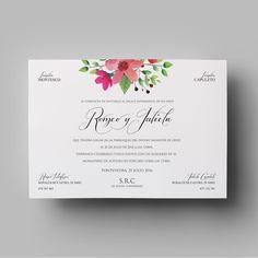 Invitación de boda floral de la colección clásica. Con meseros y menús a juego en nuestra shop online. Incluye sobre. Desde 2,50€/u