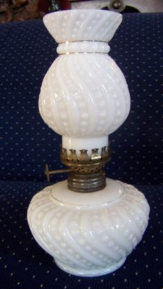 Snowflake Lamp 1910/'s Hobbs Blue Opalescent