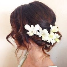 Fun, flowery, wedding up--do on long hair