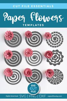Free Paper Flower Templates, Felt Flower Template, Flower Svg, Paper Flower Tutorial, Flower Crafts, Rolled Paper Flowers, Paper Flowers Diy, Felt Flowers, How To Make Paper Flowers
