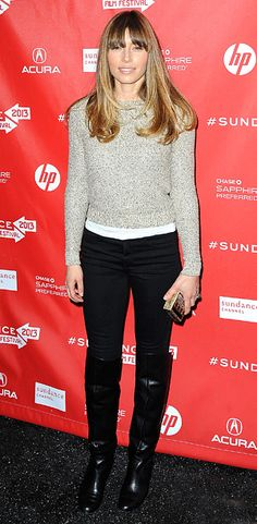 Jessica Biel (in an Oscar de la Renta sweater and J Brand jeans) at the premiere of 'Emanuel and the Truth About Fishes'