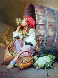 Girl resting in a winery Fantasy Kunst, Fantasy Art, Turkish Art, Art And Illustration, Portrait Art, Beautiful Paintings, Oil Painting On Canvas, Oeuvre D'art, Female Art