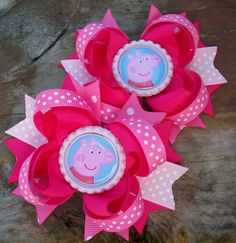 Peppa Pig Inspired Set of Piggy Tails 4 Inch Bows / Birthday Bows on Etsy, $10.99