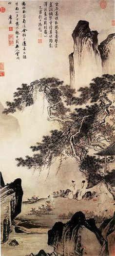 Landscape painting by Tang Yin(唐寅)aka Tang Bohu (唐伯虎)(1470-1523) - a Chinese scholar, painter, calligrapher, and poet of the Ming Dynasty period. 明 唐寅 东篱赏菊图 上海博物馆 by China Online Museum - Chinese Art Galleries, via Flickr