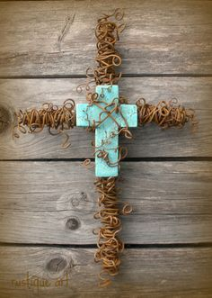 """Beaded Wire Wall Crosses, Hand sculpted beaded wire wall crosses.  Each beaded is sewn onto wire by hand with wire.  Beads are glass, metal, gemstone and crystal. , 10"""" Rusty Wire Wall Cross with large turquoise cross.  , Home Decor Project"""