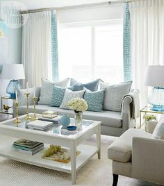 Minimalist living room is enormously important for your home. Because in the living room all the undertakings will starts in your beautiful home. locatethe elegance and crisp straight Zen Minimalist Living Room. Coastal Living Rooms, Small Living Rooms, Home Living Room, Living Room Designs, Coastal Cottage, Coastal Style, Coastal Decor, Living Room Decor Blue, Cozy Living