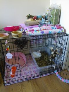 Pampered pet ~ Rabbit dog crate w/ cupcake fleece