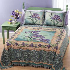 Tapestry Iris Bedspread - Gifts, Clothing, Jewelry, Home Decor and Home Furnishings as Featured in Popular Catalogs | Catalog Favorites
