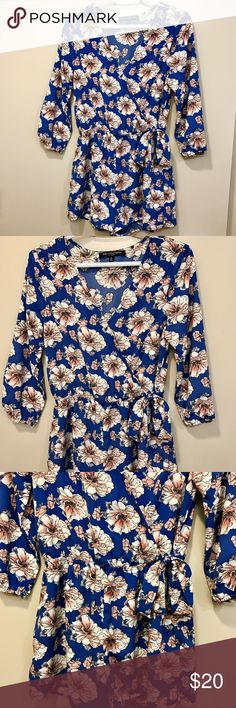 Nordstrom Long Sleeve Floral Romper 💙💙 Blue Long Sleeve Floral Romper from Nordstrom! 💓 Gently used, lightweight, would look super cute for summer! Tag size is Small and fits true to size. Brand is One ❤️ Clothing. No modeling as it is not my size, but I can measure and take more pictures if requested. I consider offers! Nordstrom Pants Jumpsuits & Rompers