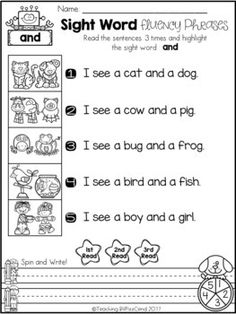 FREE Kindergarten Sight Word Fluency Phrases(Pre-Primer, Primer, First Grade) This pack is ideal for beginning readers or struggling readers in Pre-K, Kindergarten and in First Grade to build confidence in reading. Sight Word Sentences, Sight Word Worksheets, Sight Word Activities, Reading Worksheets, Sight Words, Simple Sentences, Reading Activities, Guided Reading, Word Reading