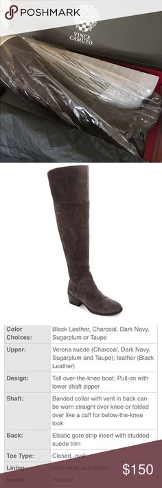 """Vince Camuto - """"Briella"""" OTK Leather Boots Brand new! Beautiful Charcoal Grey soft verona suede Over The Knee riding boots. Size 7.5 Wide Width. Additional details captured above. Vince Camuto Shoes Over the Knee Boots"""