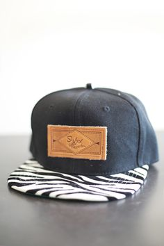 Slyfox Threads Zebra SnapBack hat with custom leather Slyfox Threads patch.  Adjustable leather buckle strap 0a870fd5db8
