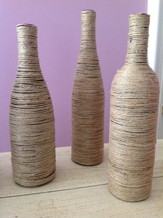 Wine bottles with twine
