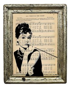 Beautiful Black and White Classic Audrey Hepburn Print on 8 x 10 Upcycled Antique Paper