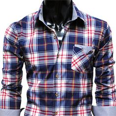 Mens casual stripe patch checker shirts